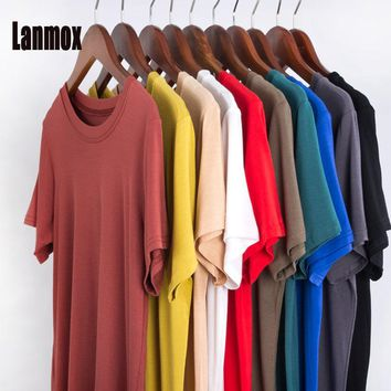 Lanmox tshirts cotton women 2017 Casual top Vintage tee shirt mujer Round Neck solid color soft modal t-shirt S-2XL