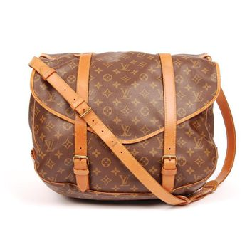 Louis Vuitton Canvas Saumur Weekend/Travel Bag 5502 (Authentic Pre-owned)