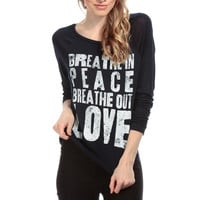 Breath Out Love Graphic Top