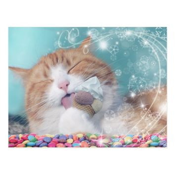 funny cat with icecream postcard