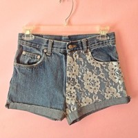 Lace High Waisted Shorts (Already made)