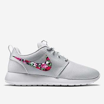 Custom Pure Platinum Floral Roses Nike Roshe Run Shoes Fabric Pattern Men's Women's Bi