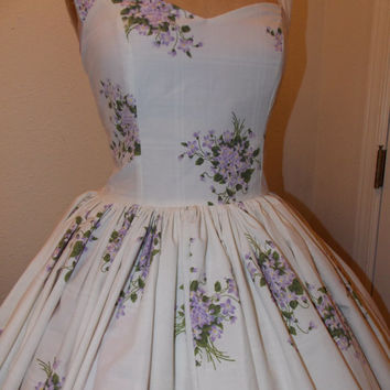 Lavender Bouquets Custom Made to Order Sweet Heart Pin Up Geekery Halter Ruffled mini Dress
