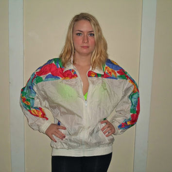 1990s White Floral Tropical Windbreaker Jacket, Neon Crazy Zip Up Wind Breaker