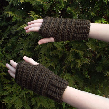 Coffee Brown Fingerless Gloves - Crochet Fingerless Mittens - Ladies Hand Warmers - Womens Wrist Warmers