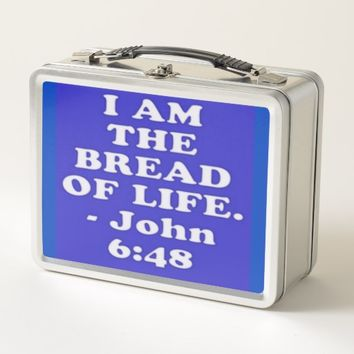 Bible verse from John 6:48. Metal Lunch Box