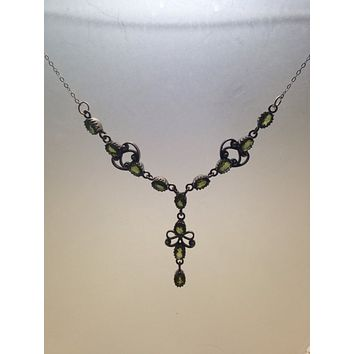 "Bohemian ""Y"" necklace Droplet, crystal and Sterling Silver Necklace"