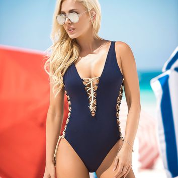Navy Blue One Piece Swimsuit Women Swimwear