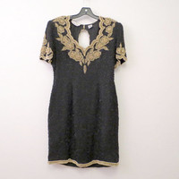 Vintage 80s Black Sequin Dress Gold Accents Floral Pattern Lawrence Kazer size M to L