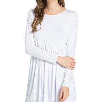 2LUV Womens Solid Long Sleeve Baby Doll Tunic Dress