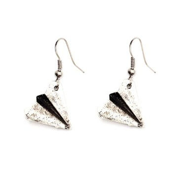 Paper Airplane Dangle Earring Silver Tone Plane Charm EE32 Fashion Jewelry