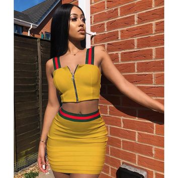 Straps Front Zipper Crop Top with High Waist Bodycon Short Skirt Two Pieces Dress Set Outfits