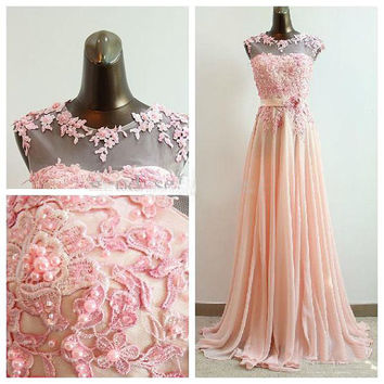 Pink Chiffon Round Neck Shoulders Sheath/Column Floor Length Chiffon Lace Pearl Wedding Dress Bridesmaid Gown Hot Sale Prom Gown