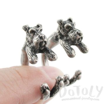 Realistic Schnauzer Dog Shaped Front and Back Two Part Stud Earrings in Silver