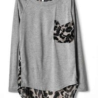 Leopard Print Chiffon T-shirt ( Black or Grey)