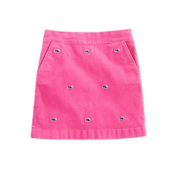Girls Whale Embroidered Cord Skirt