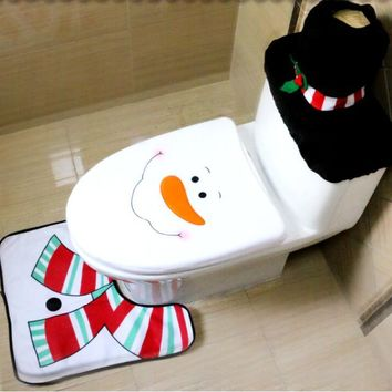 Christmas creative bathroom decoration toilet set