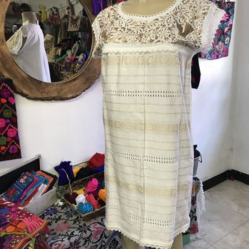 Oaxaca White Short Loomed Dress with Gold Embroidery