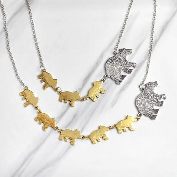 Gold AND Silver COLOR Mother Kids Love Protective Mom And Children Jewelry Mama Bear And Cub Animal Pendant Necklace