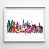 Moscow, Russia Skyline Watercolor Print