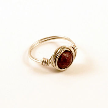 Purple Galaxy Space Ring Size 7 Wire Wrapped Ring