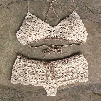 Crochet bralette and crochet shorts in cream, Bridal lingerie, Crochet beachwear, Crochet bikini top, Crochet bikini bottom