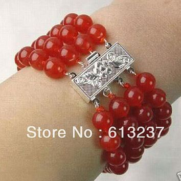 Natural Red chalcedony jades stone 4 Rows 8mm Round loose Beads Bracelet elegant bangle jewelry
