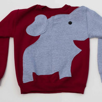 Swealephant: A sweater with an elephant trunk sleeve (Red)