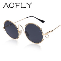 AOFLY Fashion Sunglasses Big Round Women Sunglasses 2016 New Metal Circle Style Fashion Lady sunglasses Chain Legs Points UV400