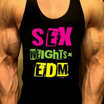 Sex Weights EDM, Workout Tank, Mens Workout Tank, Mens Gym Shirt, Mens Gym Tank, Gym Shirts, Muscle Tee, Tank Top, Mens Fitness Tank