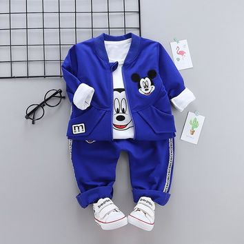 HYLKIDHUOSE 2018 Autumn Baby Girl Boy Clothing Sets Classic Cartoon Toddler Child Clothes Suits Coats T Shirt Pants Kids Costume