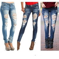 Women Fashion Jeans Sexy Middle Waist Pencil Jeans Casual Blue Ripped Denim Pants Skinny Beggar Pants