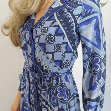 Vintage 1970's EMILIO PUCCI PsYcHeDeLiC MoD HiPPiE Op ArT OpTiC Silk CouTuRe Dress 8 S