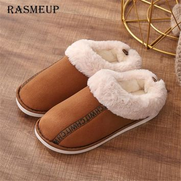 RASMEUP Women Winter Warm Indoor Slippers Adults Women's Letter Printed Plush Flip Flops Home Shoes Cotton Home Slippers