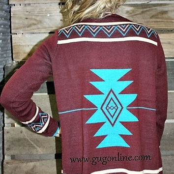 Count Your Blessings Maroon, Turquoise and Beige Aztec Sweater