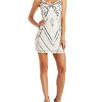 SEQUINED & BEADED STRAPPY SHIFT DRESS