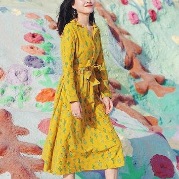 May Flower Collection yellow cactus cute dress