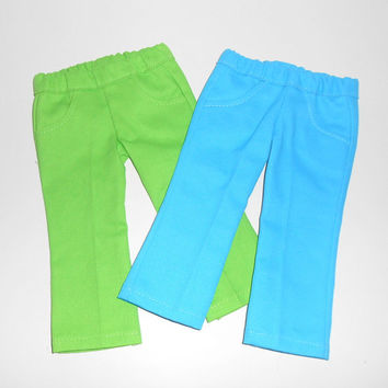 American Girl Doll Clothes 2 pair of Pants with Pockets Turquoise and Green fits 18 inch dolls