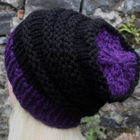 Hand Knit Hat- OceanShell Hat- Women's hat- purple and black- beanie hat