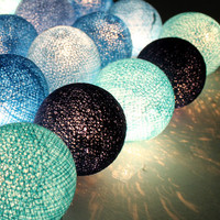 Four Blue Tone Mix Cotton Ball Wedding Holiday/Party String Lights 20 Lanterns