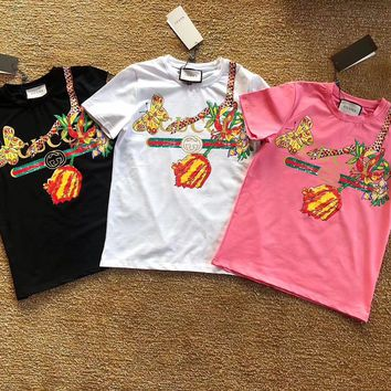 GUCCI Flower Butterfly Snake Print T-shirts