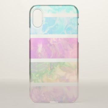 Modern Rainbow Pastel Watercolor Stripes iPhone X Case