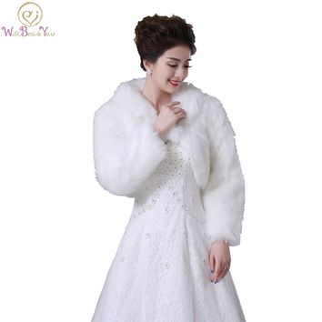 Walk Beside You Real Photos Ivory/White Faux Fur Long Sleeves Wedding Jacket Bridal Bolero Party Wrap Customize