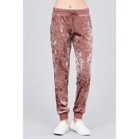 Brown Stone Ice Velvet Joggers