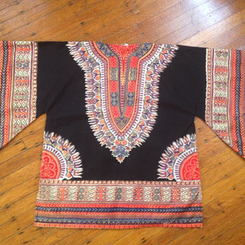 Vintage Ethnic African Dashiki Tribal Aztec Boho Tunic Shirt Unisex made in Pakistan Butterfly Sleeves sz XL
