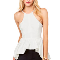 Angel Biba Hi-Lo Peplum Top in White