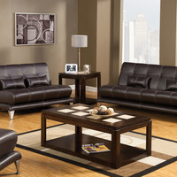 A.M.B. Furniture & Design :: Living room furniture :: Sofas and Sets :: Leather Sofa sets :: 2 Pc. Chocolate Modern Style Leatherette Artem With Pillows and Chrome Legs Sofa and love seat Set