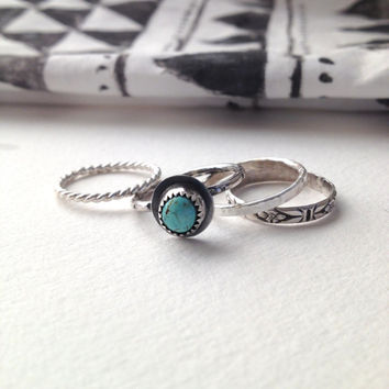 SUMMER SALE Stacking Rings-Silver Ring-statement Rings-Turquoise and Sterling Silver-Coachella Jewelry