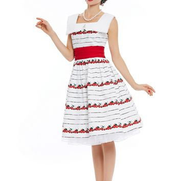 Chicloth White and Red Print Sailor Collar A-Line Vintage Dress