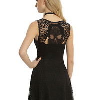 Black Lace Skull Back Fit & Flare Dress